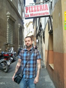 James Hayes Nichols at the Italian pizzaria 'La Montecarlo' in the same pose as Morrissey